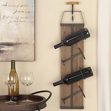 Cole & Grey Wood/Metal 4 Bottle Wall Mounted Wine Rack