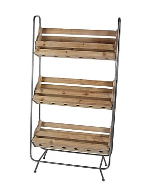 Cole & Grey Wood/Metal 18 Bottle Floor Wine Rack WYF078280057402