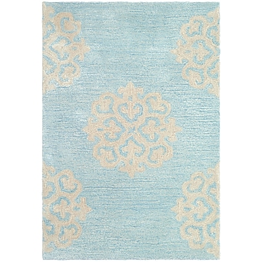Alcott Hill Backstrom Hand-Tufted Turquoise / Yellow Area Rug; Runner 2'6'' x 12'