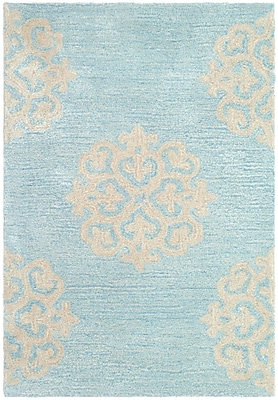 Alcott Hill Backstrom Hand-Tufted Turquoise / Yellow Area Rug; 2' x 3'