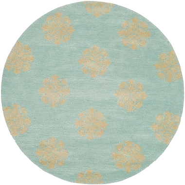 Alcott Hill Backstrom Hand-Tufted Turquoise Area Rug; Round 8'