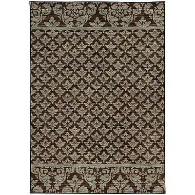 Alcott Hill Alicia Floral Brown/Blue Area Rug; 9'10'' x 12'10''