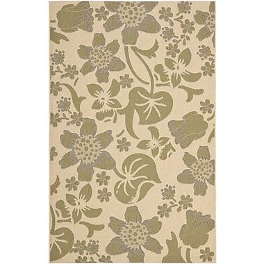 August Grove Laurel Cream/Green Indoor/Outdoor Rug; 6'7'' x 9'6''