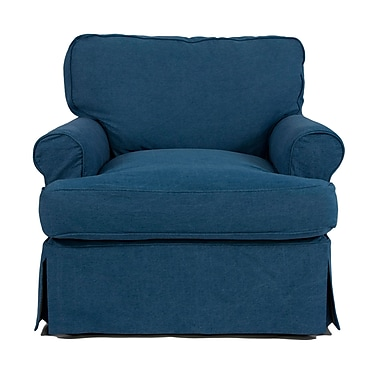 August Grove Callie Slipcovered Chair; Indigo Blue