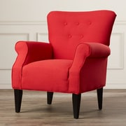 Alcott Hill Delia Button Back Arm Chair; Lipstick Red