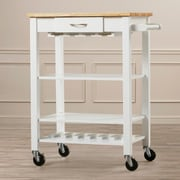 Alcott Hill Morgandale Kitchen Cart w/ Butcher Block Top; White / Natural