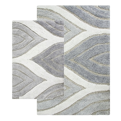 Alcott Hill Bellaire 2 Piece Bath Rug Set; Grey