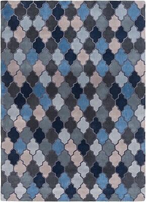 Alcott Hill Billmont Slate Geometric Blue Area Rug; Runner 2'6'' x 8'