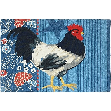 August Grove Valois American Rooster Blue Area Rug