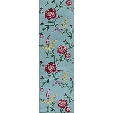 August Grove Yvonne Blue Floral Vines Area Rug; Runner 2'3'' x 9'6''