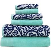 Alcott Hill Libby 6 Piece Superior Combed Cotton Towel Set; Denim / Aqua