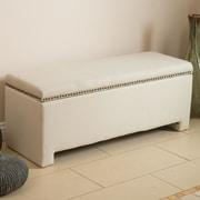 Alcott Hill Cloville Upholstered Storage Bedroom Bench; Ivory