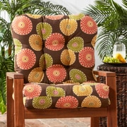 Alcott Hill Outdoor Lounge Chair Cushion; Flowers on Chocolate
