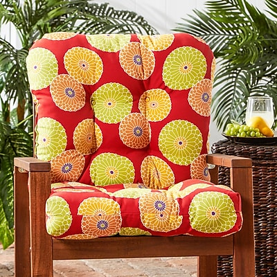 Alcott Hill Outdoor Lounge Chair Cushion; Flowers on Red
