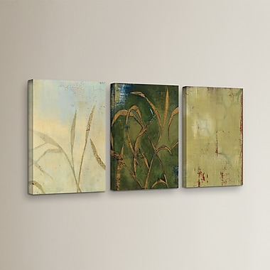 Alcott Hill Gold Grass 3 Piece Painting Print on Wrapped Canvas Set; 24'' H x 48'' W x 2'' D
