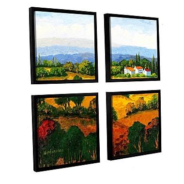 Alcott Hill Golden Hills 4 Piece Framed Painting Print Set; 48'' H x 48'' W x 2'' D
