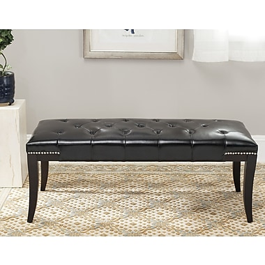 Alcott Hill Adele Tufted Two Seat Bench; Bicast Leather Black