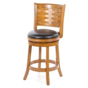 Alcott Hill Ansari 24'' Swivel Bar Stool w/ Cushion; Brush Oak