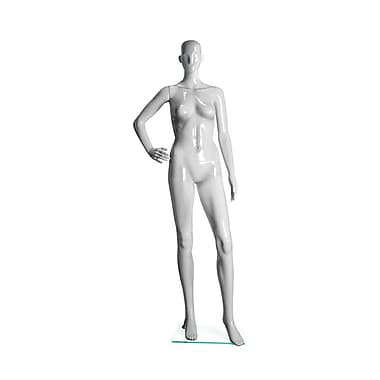 Eddie's Hang-Up Display Ltd. Glossy Abstract Female Mannequin, Bent Arm, White (150500)