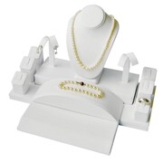 Eddie's Hang-Up Display Ltd. 6-Piece Jewellery Display Set, Faux Leather, White, 2/Pack (163068)