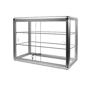 Eddie's Hang-Up Display Ltd. Silver Aluminum Countertop Display Case, 2 Shelves (165063)