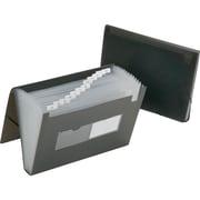 "SKILCRAFT 12-tab Poly Expanding File Folder, Letter, 8 1/2"" x 11"" Sheet Size, Poly, Smoke Gray, 12/Box (NSN6597149)"