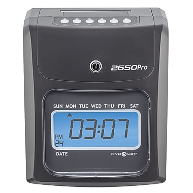 Pyramid™ 2650Pro Auto Aligning Time Clock, Charcoal