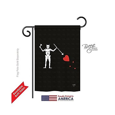TwoGroupFlagCo Blackbeard's Condent's 2-Sided Vertical Flag; 18.5'' H x 13'' W
