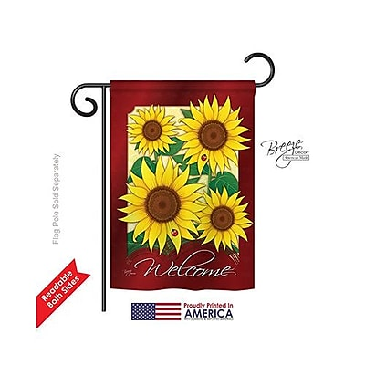 Breeze Decor Welcome Sunflowers 2-Sided Vertical Flag; 40'' H x 28'' W