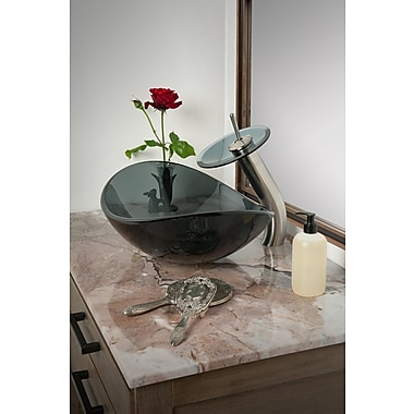 Novatto Slipper Glass Oval Vessel Bathroom Sink; Grey