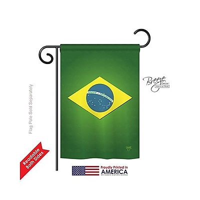TwoGroupFlagCo Brazil 2-Sided Vertical Flag; 18.5'' H x 13'' W