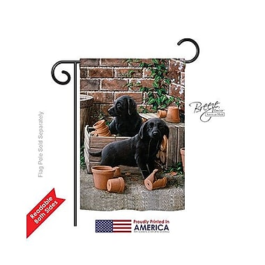 TwoGroupFlagCo Black Lab Pups 2-Sided Vertical Flag; 40'' H x 28'' W