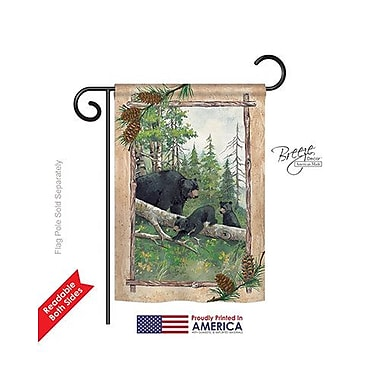 TwoGroupFlagCo Black Bear and Cubs 2-Sided Vertical Flag; 40'' H x 28'' W