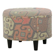 World Menagerie Acosta Round Fabric Ottoman