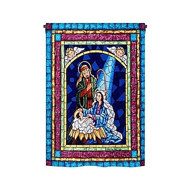 TwoGroupFlagCo Stained Glass Nativity 2-Sided Vertical Flag; 40'' H x 28'' W