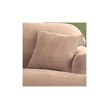 Sure Fit Soft Suede Self Cord Throw Pillow; Sable
