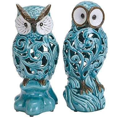 ABCHomeCollection 2 Piece Ceramic Owl Sculpture Set