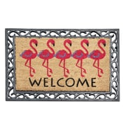 A1 Home Collections LLC First Impression Flamingo Welcome Rubber Coir Doormat