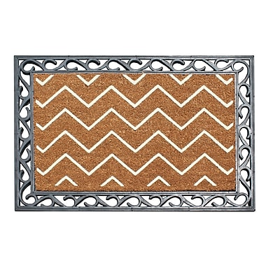 A1 Home Collections LLC First Impression Rosway Chevron Rubber Coir Doormat