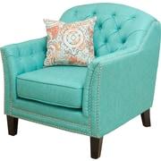 Alcott Hill Plumwood Tufted Fabric Club Chair; Teal