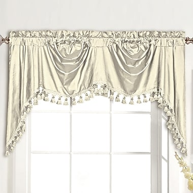 United Curtain Co. Dupioni Silk Rod Pocket Swag 108'' Curtain Valance; Oyster