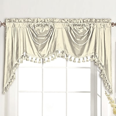 United Curtain Co. Dupioni Silk Rod Pocket Swag 108'' Curtain Valance; Oyster