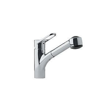 Franke Single Handle Single Hole Kitchen Faucet w/ Pull Out Spray; Satin Nickel