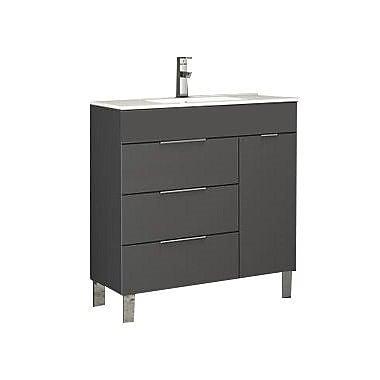 Eviva Geminis 28'' Single Bathroom Vanity Set; Gray