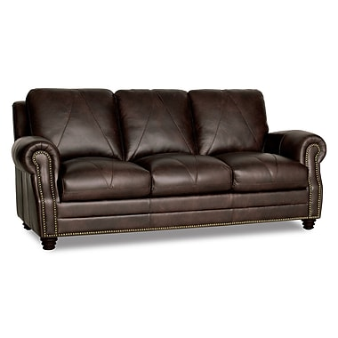 Darby Home Co Gardner Leather Sofa; Brown