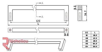 Richelieu 8 41/50'' Center Bar Pull; Antique Nickel
