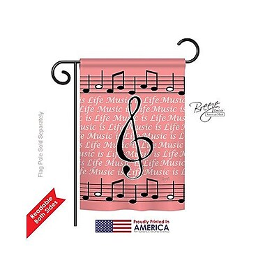 TwoGroupFlagCo Music is Life 2-Sided Vertical Flag; 18.5'' H x 13'' W