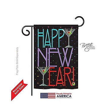 TwoGroupFlagCo New Year Martini 2-Sided Vertical Flag; 18.5'' H x 13'' W