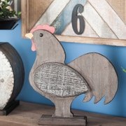 Cole & Grey Wood Rooster Sculpture; Distressed Dark Brown/ White