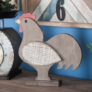 Cole & Grey Wood Rooster Sculpture; Distressed Brown/White